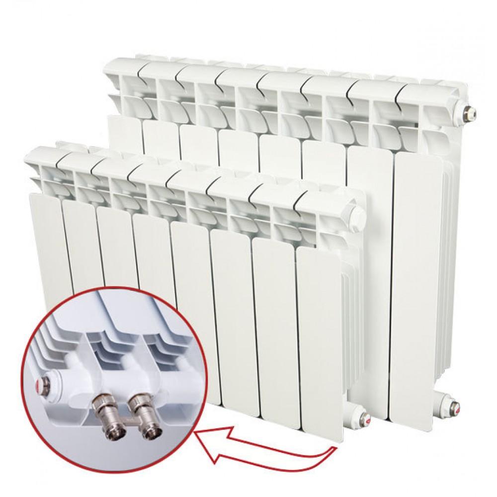 Радиатор биметаллический секционный Rifar Base Ventil BV200, 8 секций, нижнее правое…