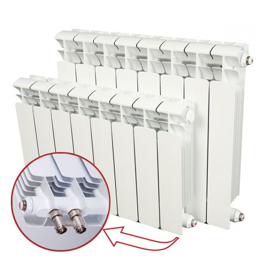 Радиатор биметаллический секционный Rifar Base Ventil BV200, 5 секций, нижнее правое…