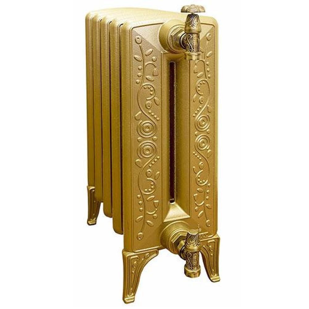 Радиатор отопления чугунный секционный GuRaTec Flora 640/15, 15 секций, цвет Mattschwarz, боковое подключение, 2049 Вт…
