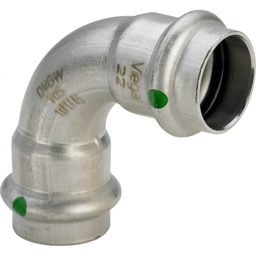 Отвод двухраструбный 90° пресс Viega Sanpress Inox Ø 28, нерж сталь…