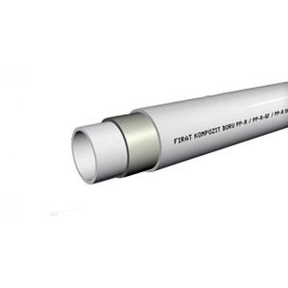 Труба Firat Ø 50 х 8,3 мм, армированная стекловолокном, полипропилен, штанга 4 м (Ø50 мм, толщина стенки 8,3 мм, PPRC,…